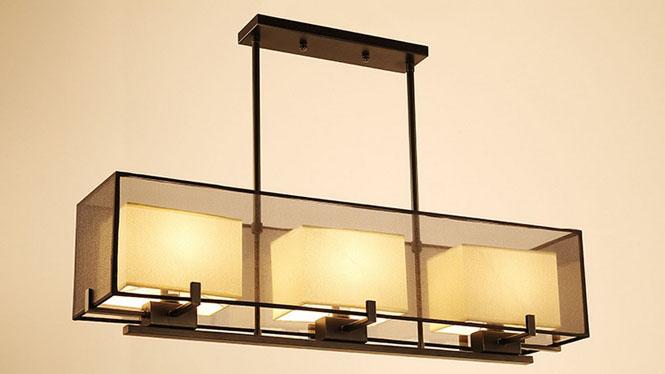 新中式餐厅吊灯长方形仿古简约现代客厅灯铁艺创意吧台中式灯具3头MD1200