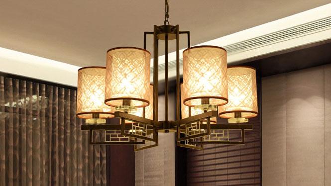 新中式吊灯客厅灯卧室灯铁艺仿古茶楼餐厅酒店中式吊灯6头3头8头D1034