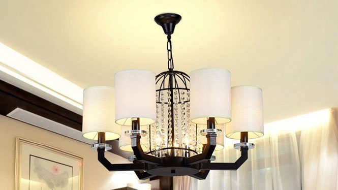 现代新中式铁艺吊灯 简约创意鸟笼水晶灯卧室灯饰6头8头D1011