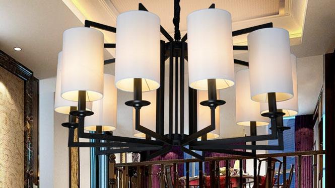 新中式吊灯 现代仿古布艺客厅卧室吊灯铁艺酒店茶楼餐厅灯具10头3头6头8头D1025