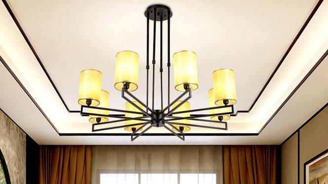 新中式吊灯仿古中国风酒店别墅工程卧室餐厅灯铁艺布艺led客厅灯8头6头6611