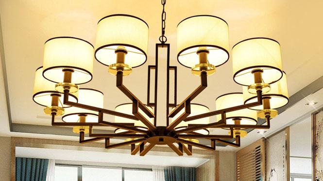 新中式吊灯客厅卧室灯现代铁艺仿古吊灯茶楼餐厅酒店中式灯10头3头6头8头D1032