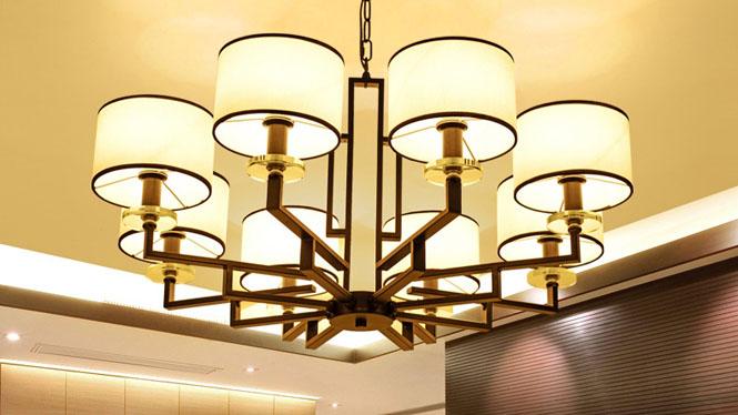 新中式吊灯客厅卧室灯现代铁艺仿古吊灯茶楼餐厅酒店中式灯8头3头6头10头D1032