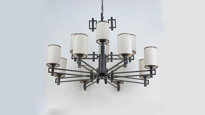 新中式吊灯现代简约创意个性仿古复古铁艺客厅书房卧室餐厅吊灯12头6头3头8头D1028
