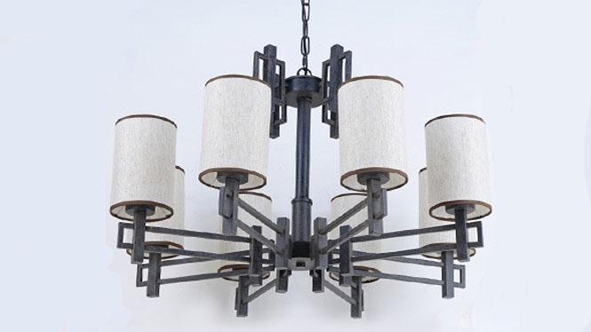 新中式吊灯现代简约创意个性仿古复古铁艺客厅书房卧室餐厅吊灯8头3头6头12头D1028