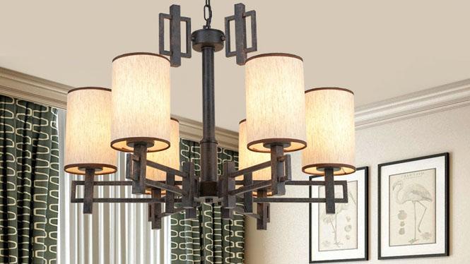 新中式吊灯现代简约创意个性仿古复古铁艺客厅书房卧室餐厅吊灯6头3头8头12头D1028