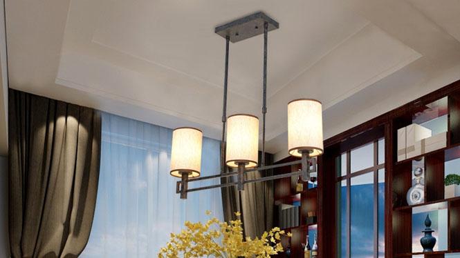 新中式吊灯现代简约创意个性仿古复古铁艺客厅书房卧室餐厅吊灯3头6头8头12头D1028