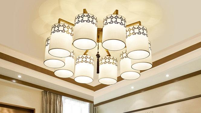 新中式吊灯复古客厅餐厅卧室灯具中式酒店饭厅吊灯饰现代铁艺10头3头4头6头8头6677