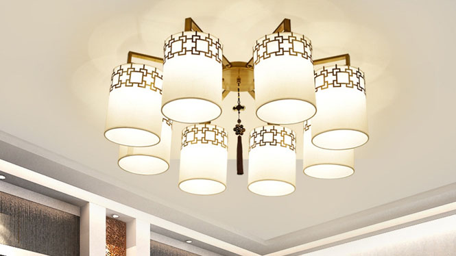 新中式吊灯复古客厅餐厅卧室灯具中式酒店饭厅吊灯饰现代铁艺8头3头4头6头10头6677