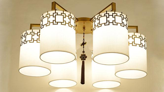 新中式吊灯复古客厅餐厅卧室灯具中式酒店饭厅吊灯饰现代铁艺6头3头4头8头10头6677