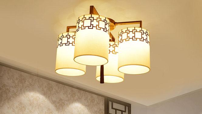 新中式吊灯复古客厅餐厅卧室灯具中式酒店饭厅吊灯饰现代铁艺4头3头6头8头10头6677