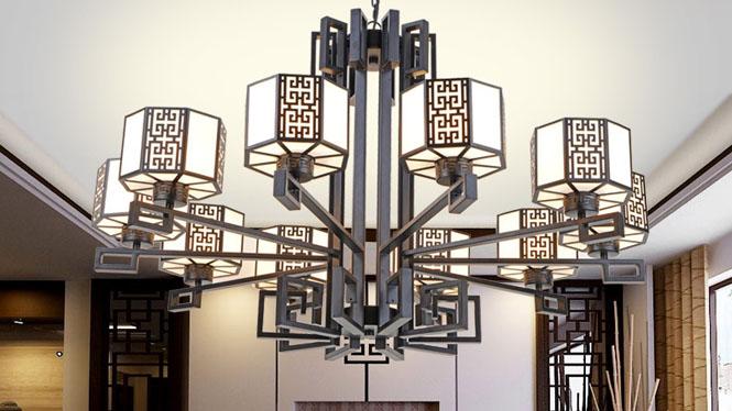 新中式吊灯客厅卧室灯现代铁艺仿古吊灯茶楼餐厅酒店中式灯10头3头6头8头D1033