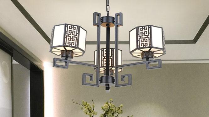 新中式吊灯客厅卧室灯现代铁艺仿古吊灯茶楼餐厅酒店中式灯3头6头8头10头D1033