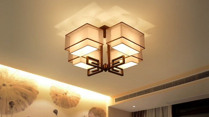 长方形新中式吸顶灯 现代仿古中式灯客厅灯复古书房卧室餐厅灯具D1016