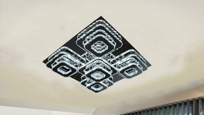 不锈钢led水晶吸顶灯个性创意正方形客厅卧室吸顶灯D19
