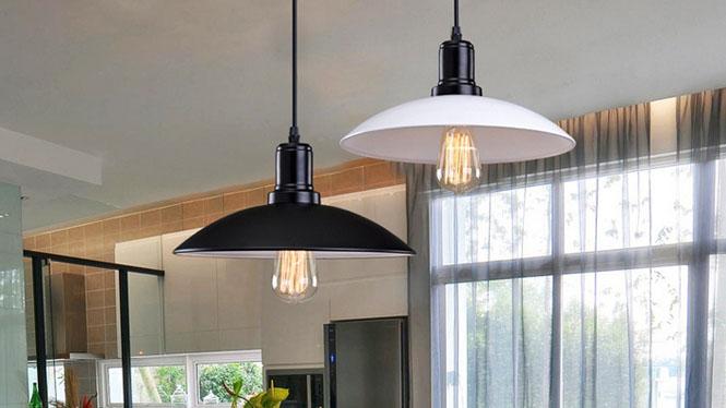 宜家北欧吊灯美式工业复古铁艺圆形单头锅盖餐厅灯咖啡酒吧台MD1227