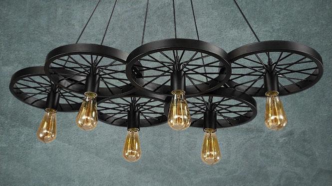 美式乡村loft工业复古酒吧餐厅咖啡厅阁楼铁艺车轮吊灯6头单头3头MD1220