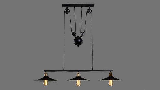 美式乡村复古铁艺吊灯loft创意餐厅酒吧咖啡厅升降吊灯3头单头2头MD1218