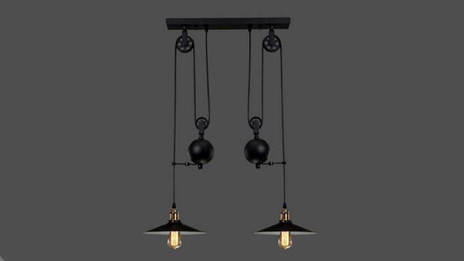 美式乡村复古铁艺吊灯loft创意餐厅酒吧咖啡厅升降吊灯2头单头3头MD1218