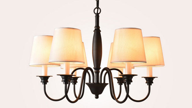 北欧简约美式乡村铁艺布罩吊灯 卧室客厅餐厅办公吊灯6头3头8头T1507