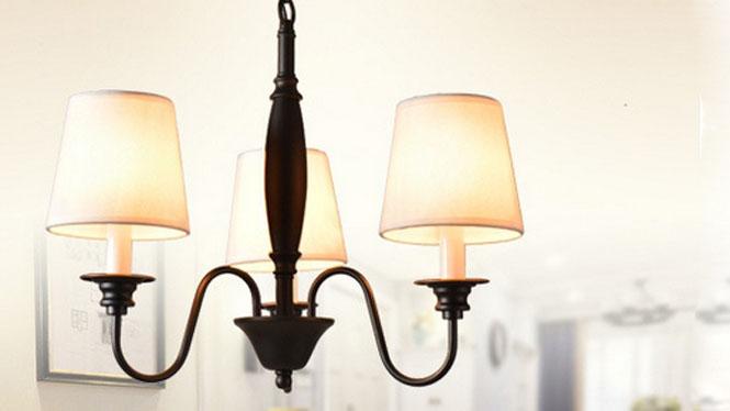 北欧简约美式乡村铁艺布罩吊灯 卧室客厅餐厅办公吊灯3头6头8头T1507