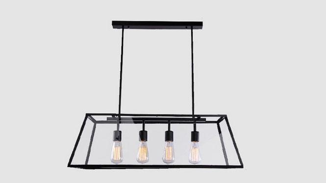 工业复古吊灯 铁艺创意美式爱迪生灯具玻璃箱餐厅吊灯4头MD1202