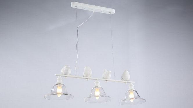 欧式客厅餐厅卧室美式吧台铁艺吊灯树脂小鸟水晶玻璃灯饰3头MD1225