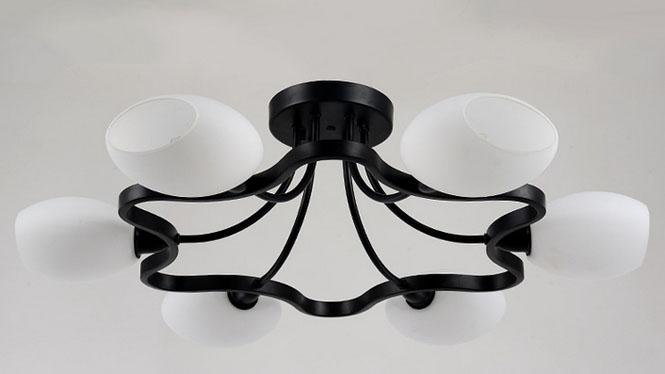美式铁艺吸顶灯 欧式现代创意圆形卧室灯餐厅简约客厅吸顶灯X08
