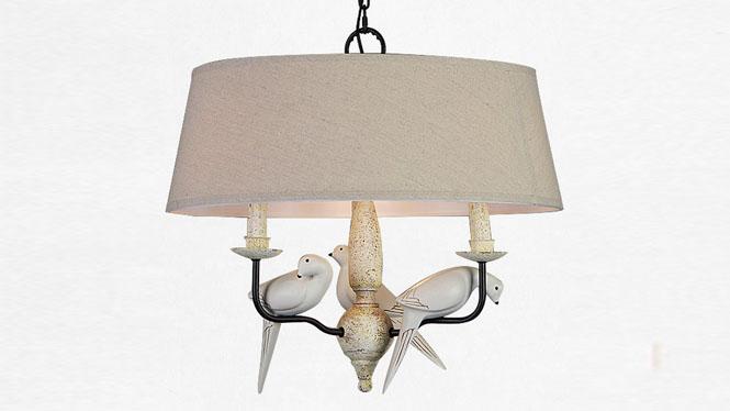 美式乡村小鸟吊灯个性客厅餐厅卧室三头树脂田园创意北欧铁艺吊灯MD1224