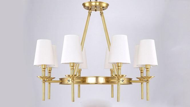 美式吊灯 欧式全铜吊灯简约美式乡村全铜灯客厅卧室餐厅灯具8头3头6头MD1236