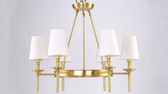美式吊灯 欧式全铜吊灯简约美式乡村全铜灯客厅卧室餐厅灯具6头3头8头MD1236