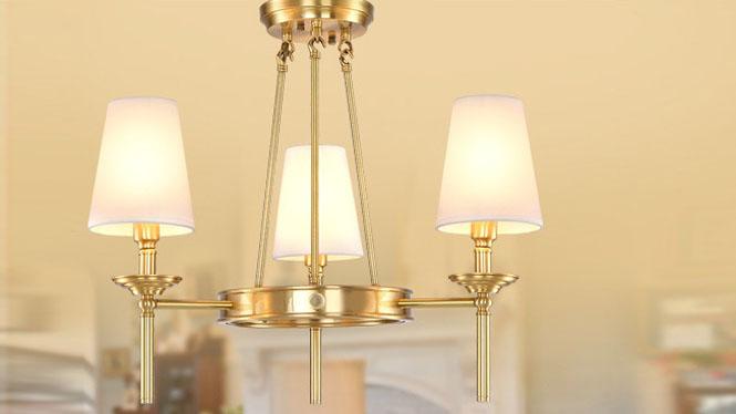 美式吊灯 欧式全铜吊灯简约美式乡村全铜灯客厅卧室餐厅灯具3头6头8头MD1236