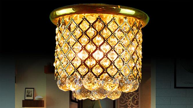 圆柱金色传统灯玄关灯过道灯走廊灯吸顶灯 9857