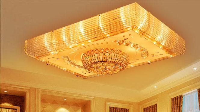 豪华水晶遥控式吸顶灯厅灯 长方形LED金色 6015