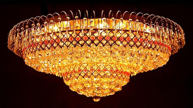 旋转圆形金色led客厅圆形照明大厅灯饰具 A226C1