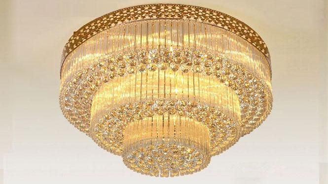 金色圆形吸顶客厅豪华遥控水晶吸顶灯餐厅客厅灯 8007
