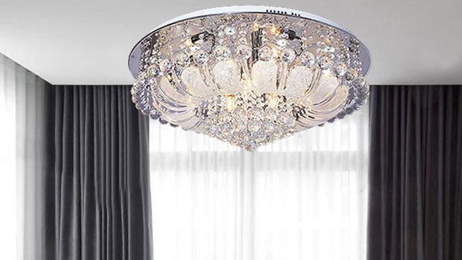 现代LED灯客厅卧室餐厅豪华水晶吸顶灯遥控B808C1-600