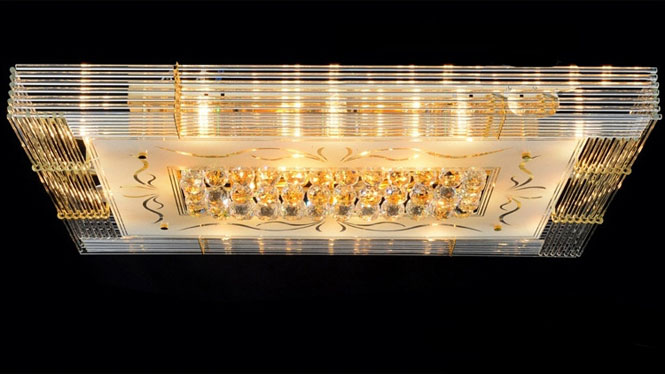长方形客厅灯方型贴片吸顶灯 led金色灯具 A232C2