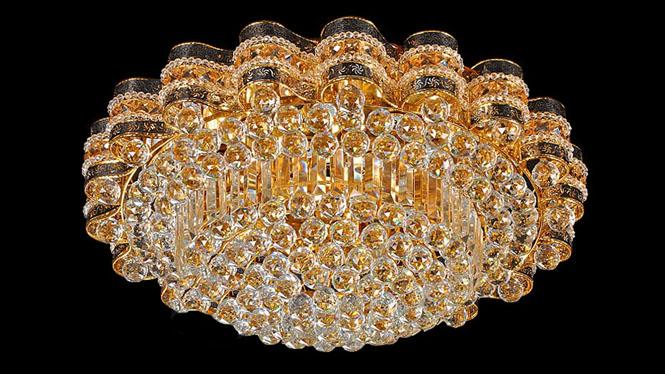 金色圆形LED吸顶灯 客厅卧室高光遥控10111