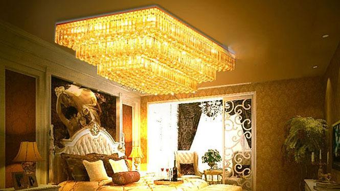 传统金色水晶灯长方形蛋糕灯三层LED客厅灯批发6006
