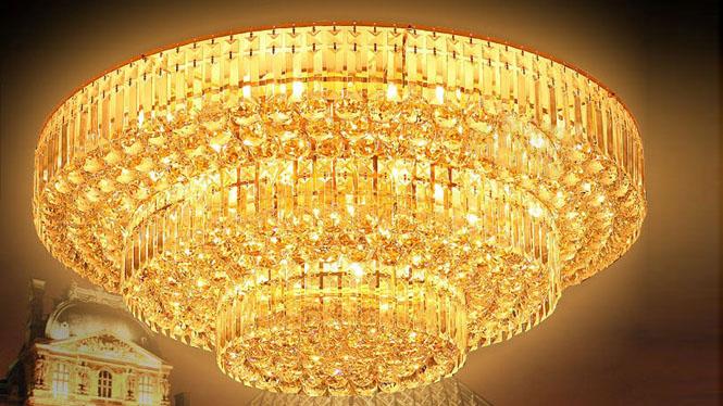 经典三层水晶灯客厅灯金色蛋糕塔LED吸顶灯6009