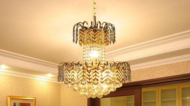 客厅吊灯 传统金色复式楼客厅吊灯水晶吊灯8头 8029