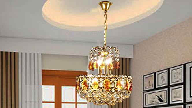 餐厅吊灯 金色圆形楼梯吊灯客厅灯水晶灯5头 8032