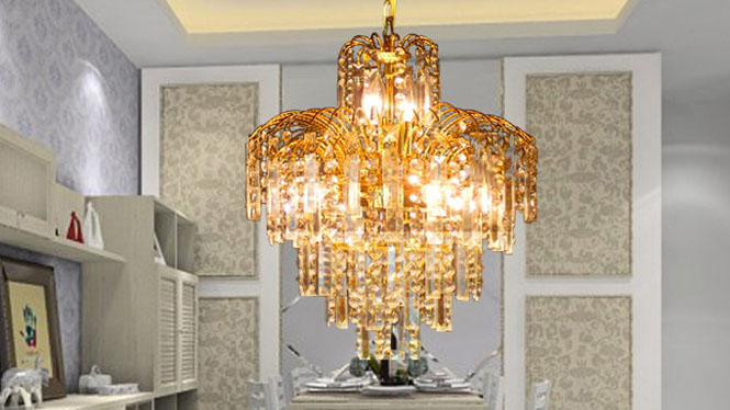 餐厅吊灯 奢华金色餐厅吊灯客厅灯饰水晶吊灯4头A111P1