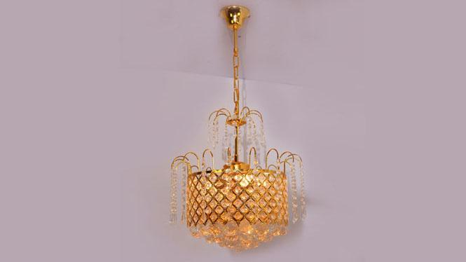 水晶吊灯 特价金色小菠萝吊灯家饰照明3头 A102P3