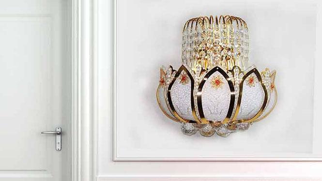 荷花水晶壁灯客厅卧室过道楼梯走道灯饰灯具 W1127