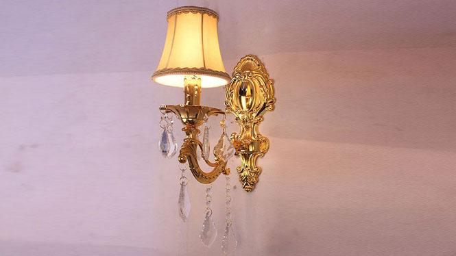 欧式壁灯 金色锌合金单双头欧式壁灯墙壁灯 W8001-1