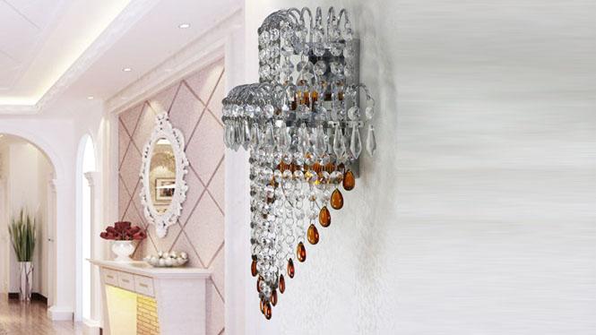 水晶壁灯金色壁灯现代简约时尚卧室客厅餐厅床 W1143