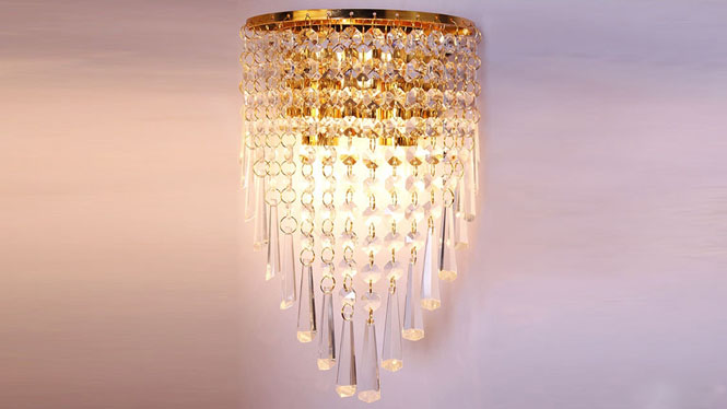水晶壁灯 金色壁灯现代简约床头灯过道灯壁灯 W1141