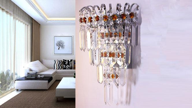 现代简约水晶壁灯客厅卧室床头过道走道灯具灯饰 W1138